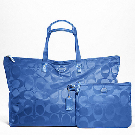 COACH f77316 GETAWAY SIGNATURE NYLON LARGE PACKABLE WEEKENDER SILVER/COOL BLUE