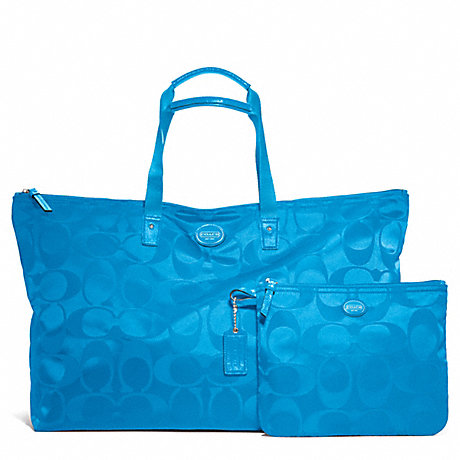 COACH f77316 GETAWAY SIGNATURE NYLON LARGE PACKABLE WEEKENDER SILVER/BLUE