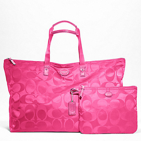 COACH f77316 GETAWAY SIGNATURE NYLON LARGE PACKABLE WEEKENDER SILVER/HOT PINK