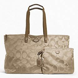 COACH F77316 - GETAWAY SIGNATURE NYLON LARGE PACKABLE WEEKENDER SILVER/LIGHT KHAKI