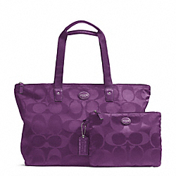 COACH F77321 - GETAWAY SIGNATURE NYLON PACKABLE WEEKENDER SILVER/AMETHYST