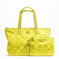 COACH F77321 - GETAWAY SIGNATURE NYLON PACKABLE WEEKENDER SILVER/CITRINE