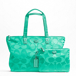 COACH F77321 - GETAWAY SIGNATURE NYLON PACKABLE WEEKENDER SILVER/AQUA