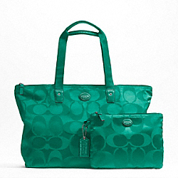 COACH F77321 - GETAWAY SIGNATURE NYLON PACKABLE WEEKENDER SILVER/BRIGHT JADE