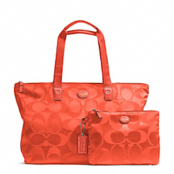 COACH F77321 - GETAWAY SIGNATURE NYLON PACKABLE WEEKENDER SILVER/HOT ORANGE