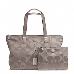 COACH F77321 Getaway Signature Nylon Packable Weekender SILVER/STEEL GREY