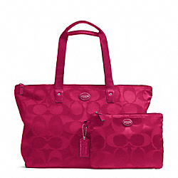 COACH F77321 - GETAWAY SIGNATURE NYLON PACKABLE WEEKENDER SILVER/FUCHSIA