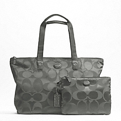 COACH F77321 - GETAWAY SIGNATURE NYLON PACKABLE WEEKENDER SILVER/GREY