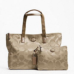 COACH F77321 - GETAWAY SIGNATURE NYLON PACKABLE WEEKENDER SILVER/LIGHT KHAKI