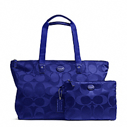COACH F77321 Getaway Signature Nylon Packable Weekender SILVER/INDIGO