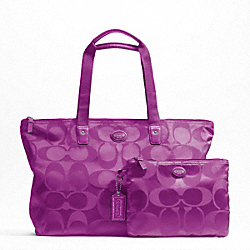 COACH F77321 - GETAWAY SIGNATURE NYLON PACKABLE WEEKENDER SILVER/VIOLET/VIOLET