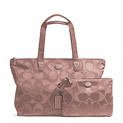 COACH F77321 Getaway Signature Nylon Packable Weekender SILVER/MAUVE