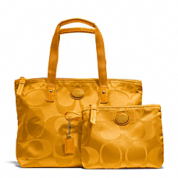 COACH F77322 - GETAWAY SIGNATURE NYLON SMALL PACKABLE TOTE BRASS/ORANGE SPICE