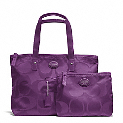 COACH F77322 Getaway Signature Nylon Small Packable Tote SILVER/AMETHYST