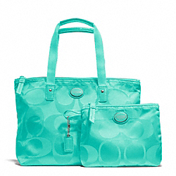 COACH F77322 - GETAWAY SIGNATURE NYLON SMALL PACKABLE TOTE SILVER/AQUA