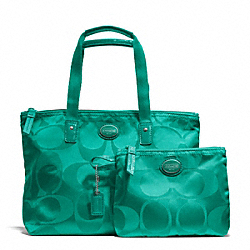 COACH F77322 Getaway Signature Nylon Small Packable Tote SILVER/BRIGHT JADE