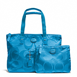 COACH F77322 Getaway Signature Nylon Small Packable Tote SILVER/BLUE