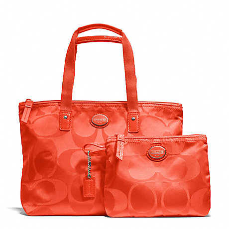 COACH f77322 GETAWAY SIGNATURE NYLON SMALL PACKABLE TOTE SILVER/HOT ORANGE