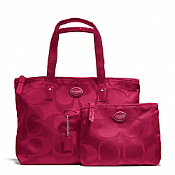 COACH F77322 Getaway Signature Nylon Small Packable Tote SILVER/FUCHSIA