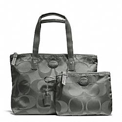 COACH F77322 - GETAWAY SIGNATURE NYLON SMALL PACKABLE TOTE SILVER/GREY