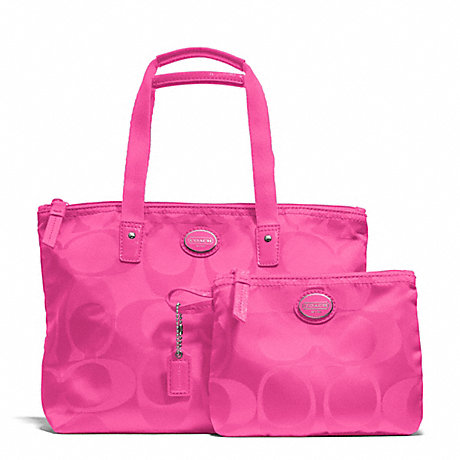 Coach F77322 Getaway Signature Nylon Small Packable Tote Silver Hot Pink