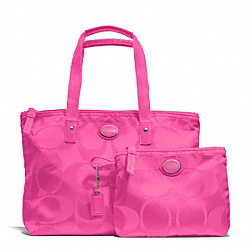 COACH F77322 - GETAWAY SIGNATURE NYLON SMALL PACKABLE TOTE SILVER/HOT PINK