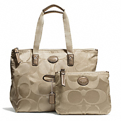 COACH F77322 - GETAWAY SIGNATURE NYLON SMALL PACKABLE TOTE SILVER/LIGHT KHAKI