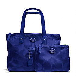 COACH F77322 Getaway Signature Nylon Small Packable Tote SILVER/INDIGO