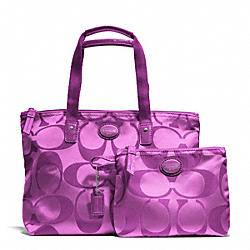 COACH F77322 - GETAWAY SIGNATURE NYLON SMALL PACKABLE TOTE SILVER/VIOLET