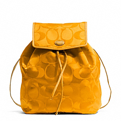 COACH F77350 Getaway Signature Packable Backpack BRASS/ORANGE SPICE