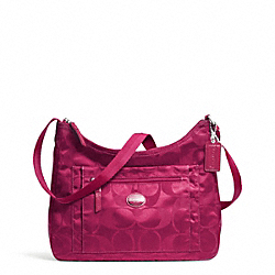 COACH F77369 - GETAWAY SIGNATURE PACKABLE CROSSBODY SILVER/FUCHSIA