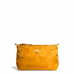 COACH F77382 - GETAWAY SIGNATURE NYLON MINI COSMETIC POUCH BRASS/ORANGE SPICE