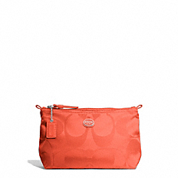 COACH F77382 - GETAWAY SIGNATURE NYLON MINI COSMETIC POUCH SILVER/HOT ORANGE