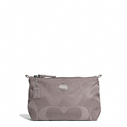 COACH F77382 Getaway Signature Nylon Mini Cosmetic Pouch SILVER/STEEL GREY