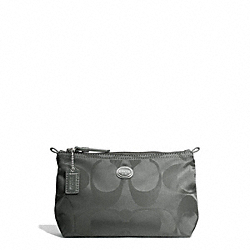 COACH F77382 - GETAWAY SIGNATURE NYLON MINI COSMETIC POUCH SILVER/GREY