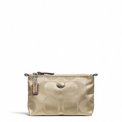 COACH F77382 Getaway Signature Nylon Mini Cosmetic Pouch SILVER/LIGHT KHAKI