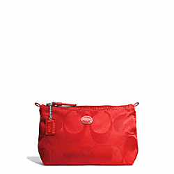 COACH F77382 - GETAWAY SIGNATURE NYLON MINI COSMETIC POUCH SILVER/VERMILLION