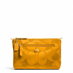 COACH F77391 Getaway Signature Nylon Cosmetic Pouch BRASS/ORANGE SPICE