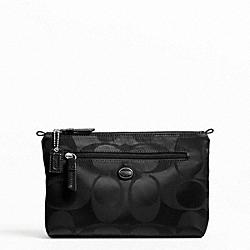 COACH F77391 Getaway Signature Nylon Cosmetic Pouch SILVER/BLACK/BLACK