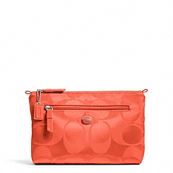 COACH F77391 Getaway Signature Nylon Cosmetic Pouch SILVER/HOT ORANGE