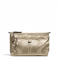 COACH F77391 Getaway Signature Nylon Cosmetic Pouch SILVER/LIGHT KHAKI