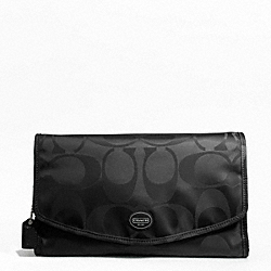 COACH F77392 Getaway Signature Nylon Cosmetic Kit SILVER/BLACK/BLACK