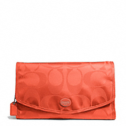 COACH F77392 Getaway Signature Nylon Cosmetic Kit SILVER/HOT ORANGE