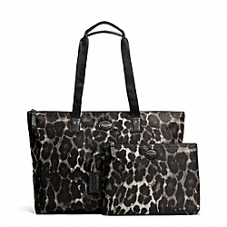 COACH F77405 - GETAWAY OCELOT PRINT PACKABLE WEEKENDER SILVER/BLACK MULTI
