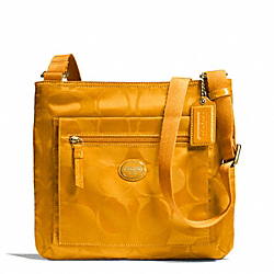 COACH F77408 - GETAWAY SIGNATURE NYLON FILE BAG BRASS/ORANGE SPICE