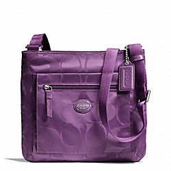 COACH F77408 - GETAWAY SIGNATURE NYLON FILE BAG SILVER/AMETHYST