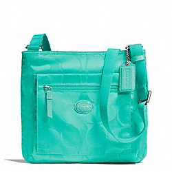COACH F77408 - GETAWAY SIGNATURE NYLON FILE BAG SILVER/AQUA