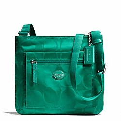 COACH F77408 - GETAWAY SIGNATURE NYLON FILE BAG SILVER/BRIGHT JADE