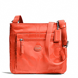 COACH F77408 - GETAWAY SIGNATURE NYLON FILE BAG SILVER/HOT ORANGE