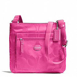 COACH F77408 Getaway Signature Nylon File Bag SILVER/HOT PINK